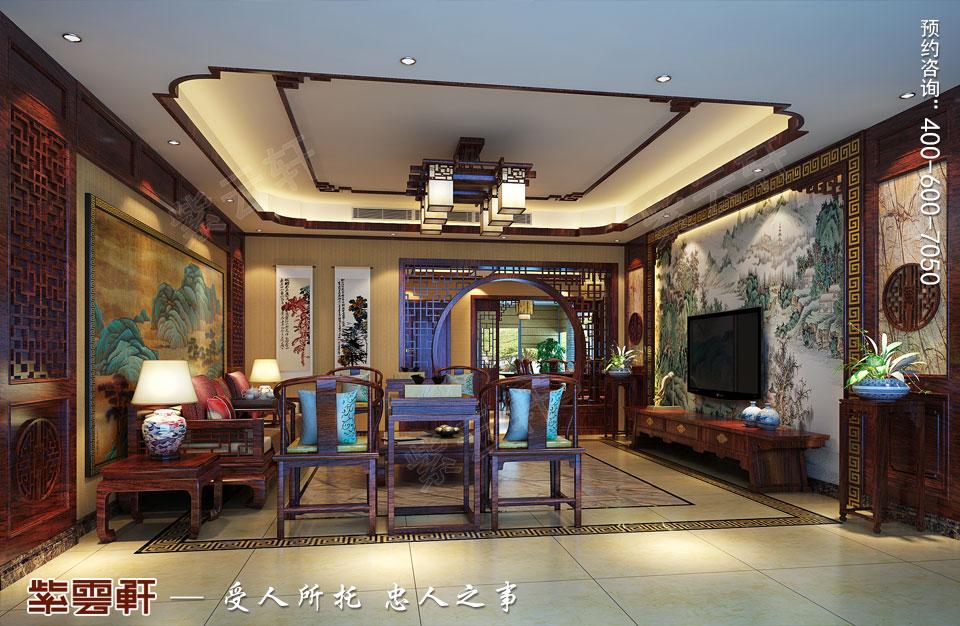 扬州复式楼简约古典中式装修效果图,客厅中式装修效果图