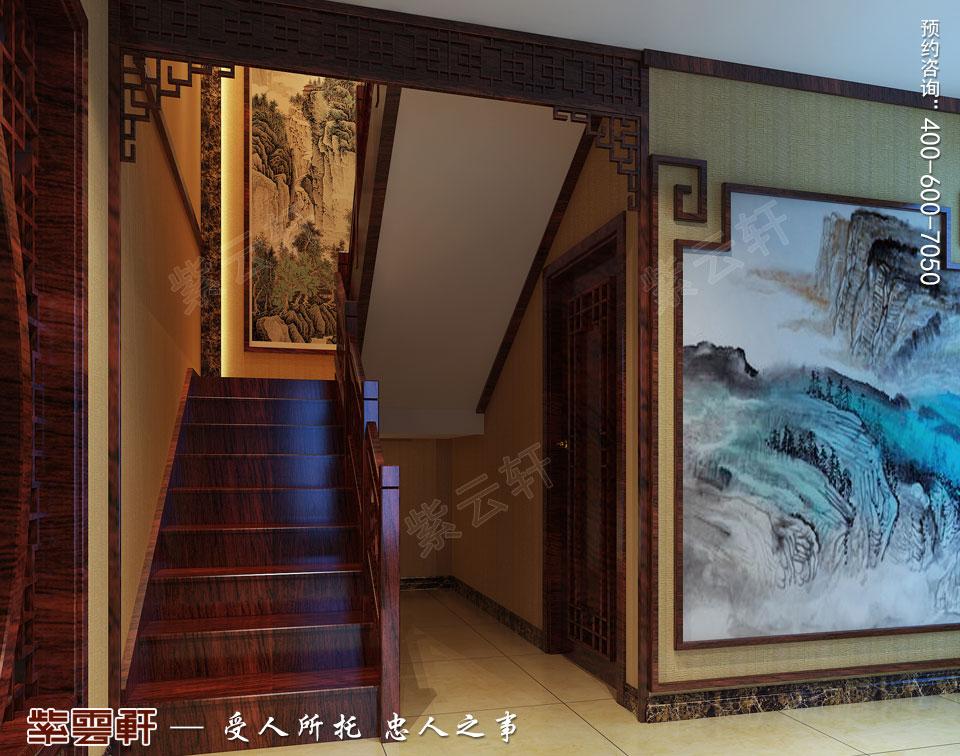 扬州复式楼简约古典中式装修效果图,楼梯间中式设计