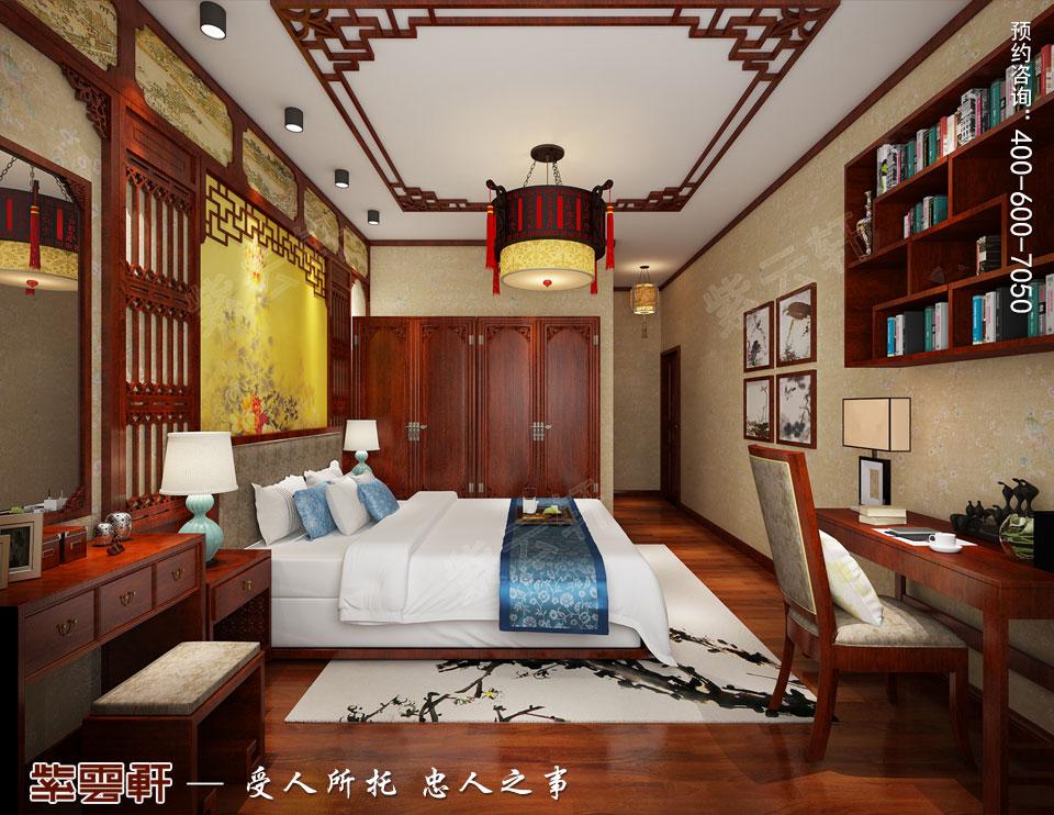 扬州复式楼简约古典中式装修效果图,主卧中式装修图片