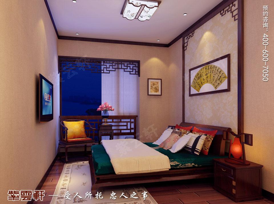 扬州复式楼简约古典中式装修效果图,客卧中式装修效果图