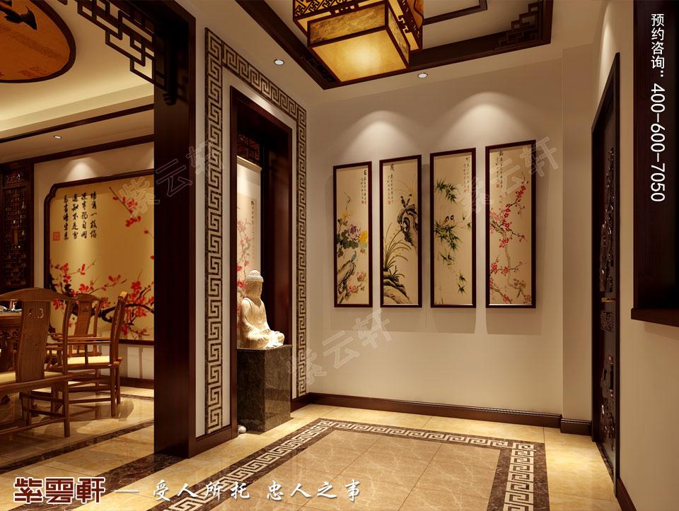 山东日照复式楼现代中式装修效果图,中式玄关设计图