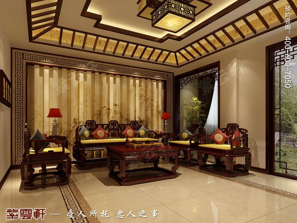 山东日照复式楼现代中式装修效果图,客厅中式装修设计