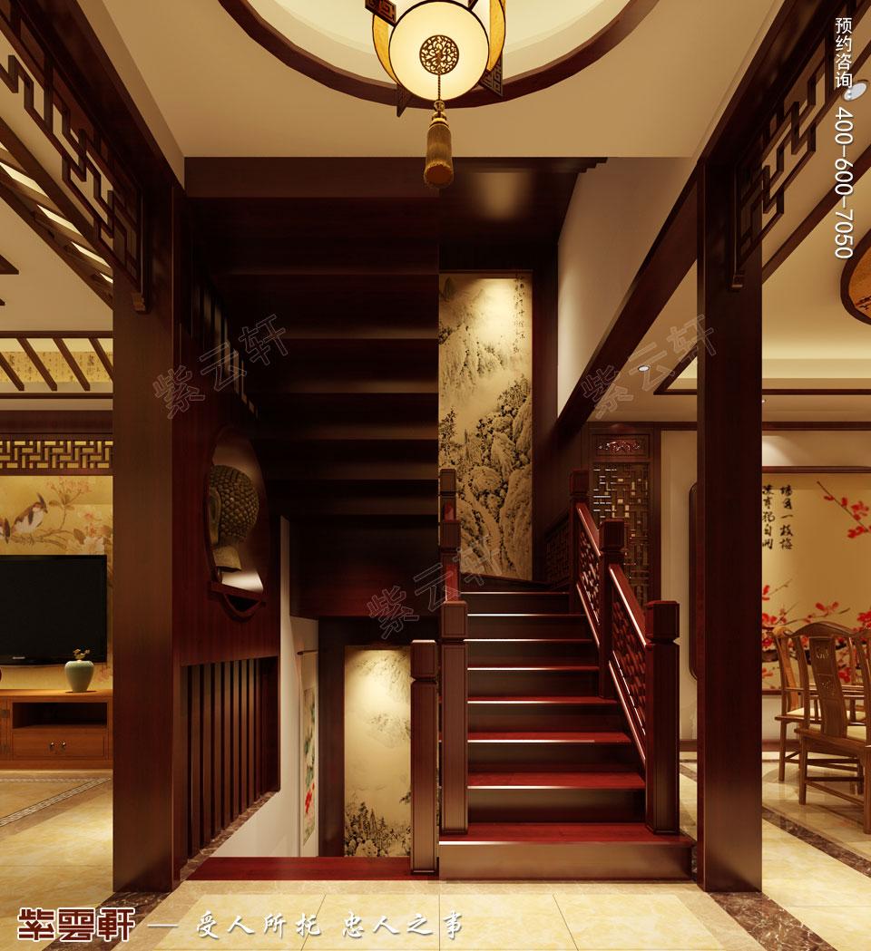 山东日照复式楼现代中式装修效果图,楼梯间中式设计