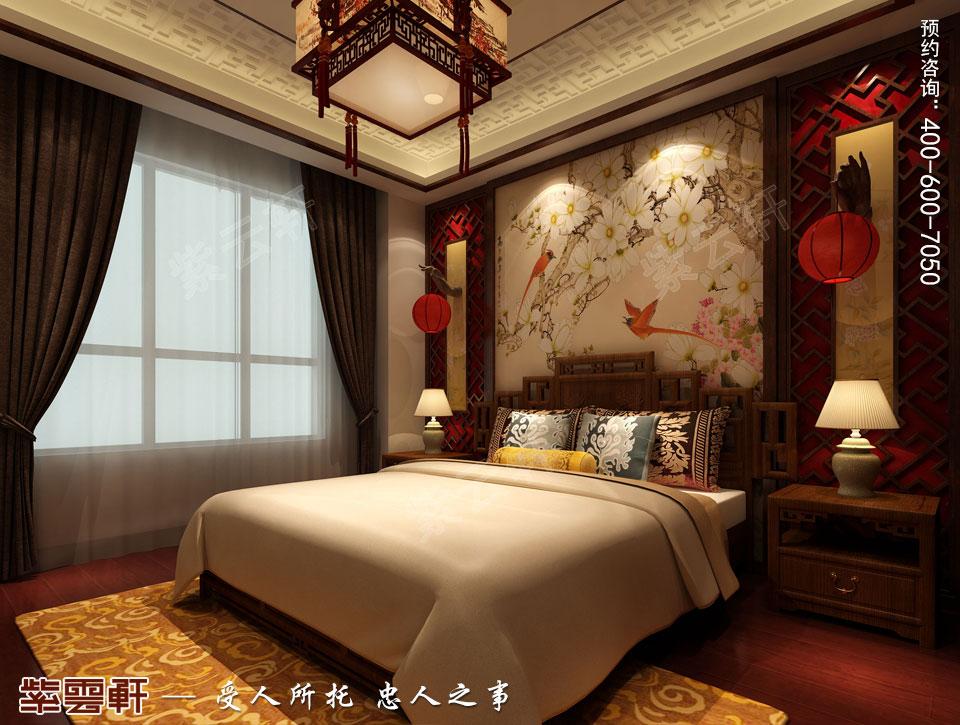 山东日照复式楼现代中式装修效果图,主卧中式装修图