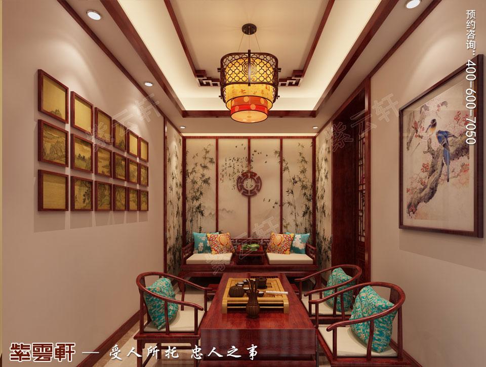 山东日照复式楼现代中式装修效果图,中式茶室设计图