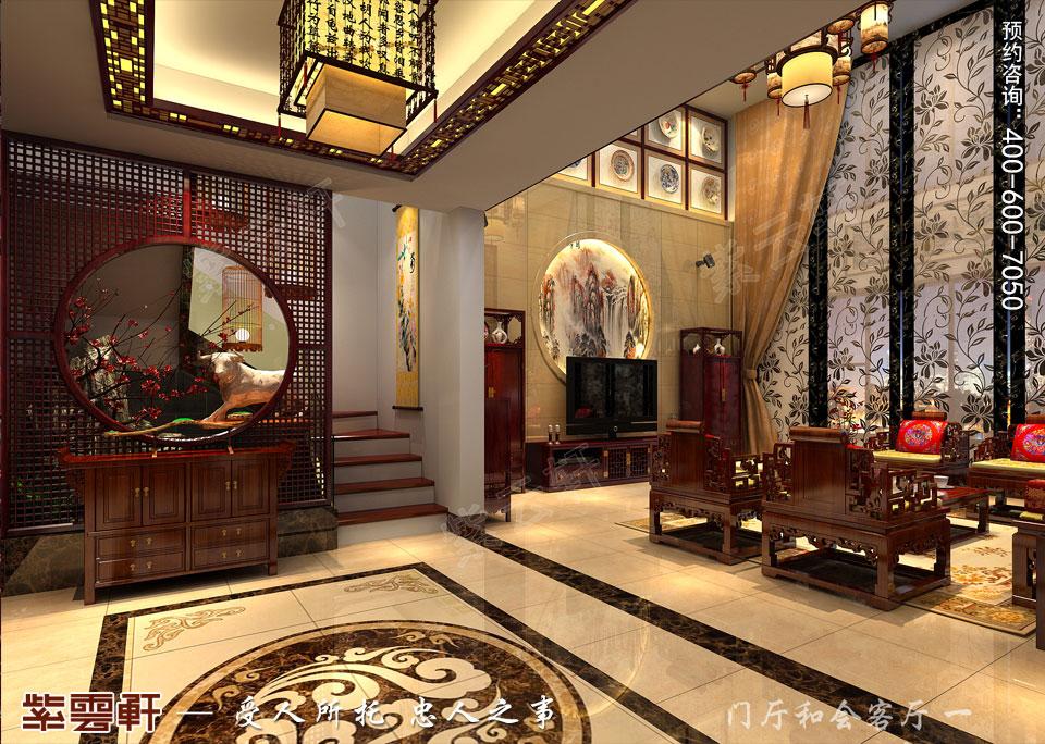 河北石家庄复式楼新中式风格装修案例,门厅中式装修