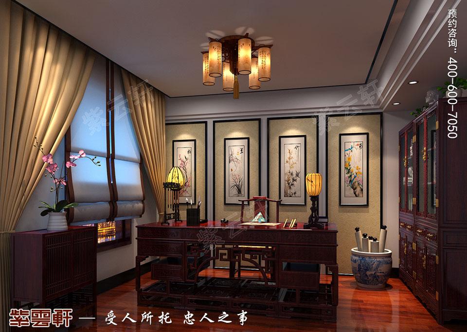 河北石家庄复式楼新中式风格装修案例,中式书房设计