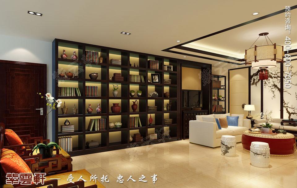河北石家庄复式楼新中式风格装修案例,起居室中式装修