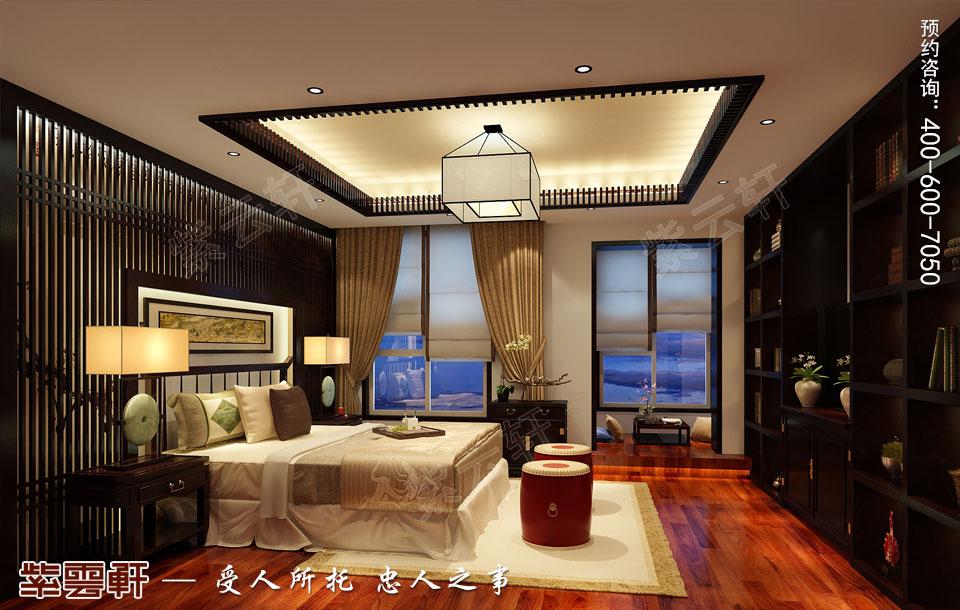 河北石家庄复式楼新中式风格装修案例,长子房中式设计