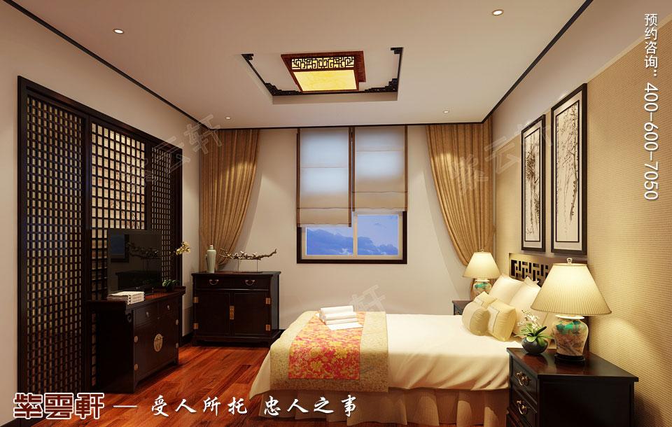 河北石家庄复式楼新中式风格装修案例,客卧中式装修风格