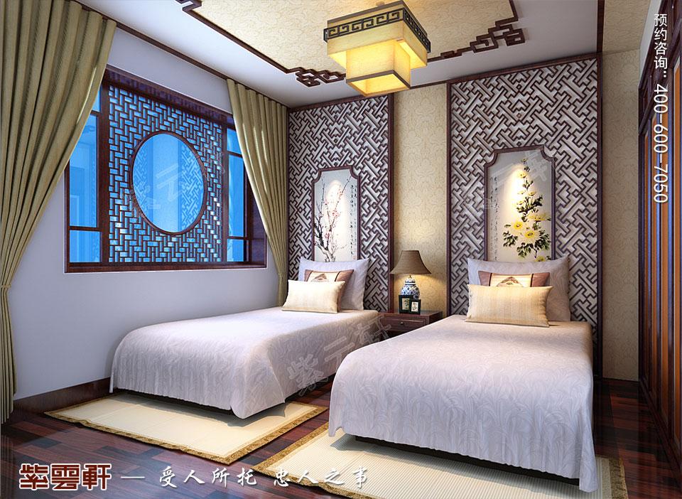 河北保定复式楼简约现代中式装修效果图,客卧中式装修