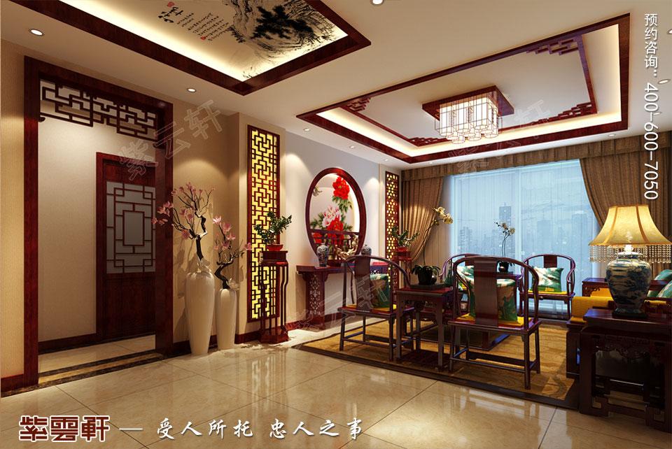 北京通州于家务复式楼大宅新中式风格装修图片,中式客厅装修