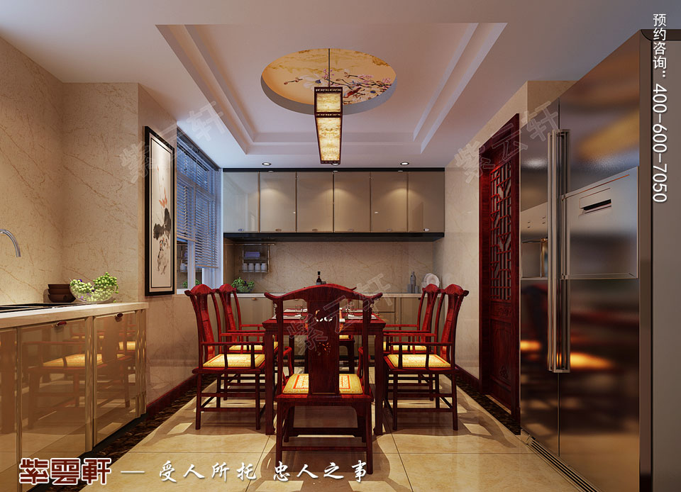 北京通州于家务复式楼大宅新中式风格装修图片,餐厅中式装修