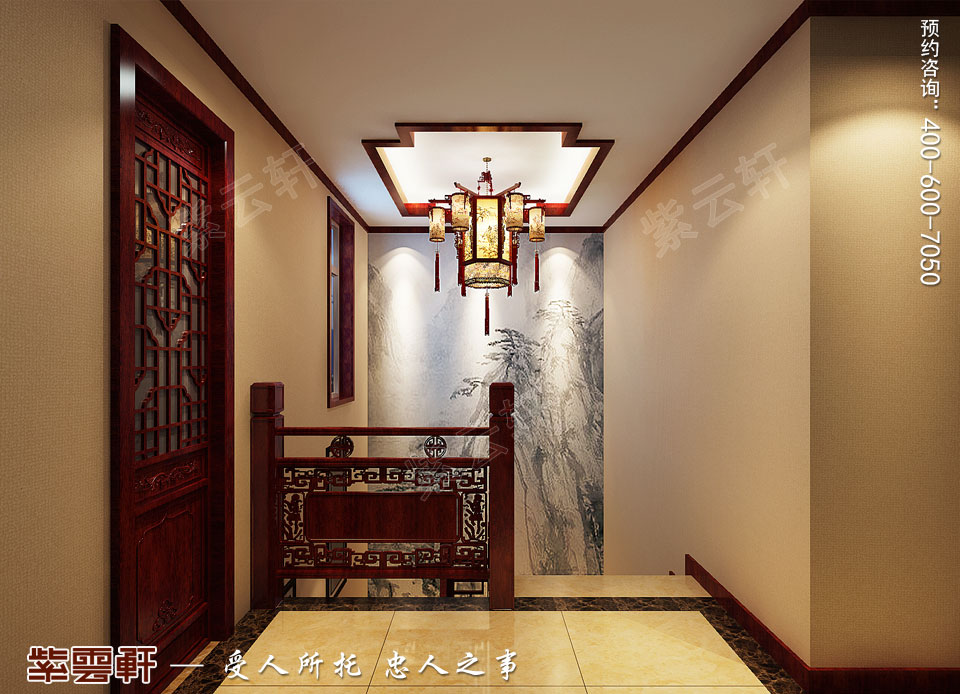 北京通州于家务复式楼大宅新中式风格装修图片,楼梯间中式设计