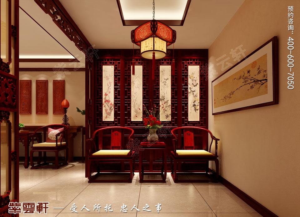 北京通州于家务复式楼大宅新中式风格装修图片,半地下门厅中式设