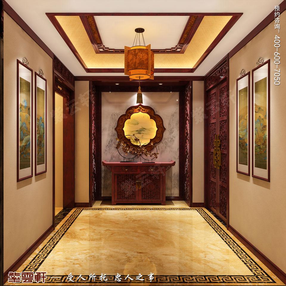 陕西汉中古典中式风格装修效果图,玄关中式设计装修图