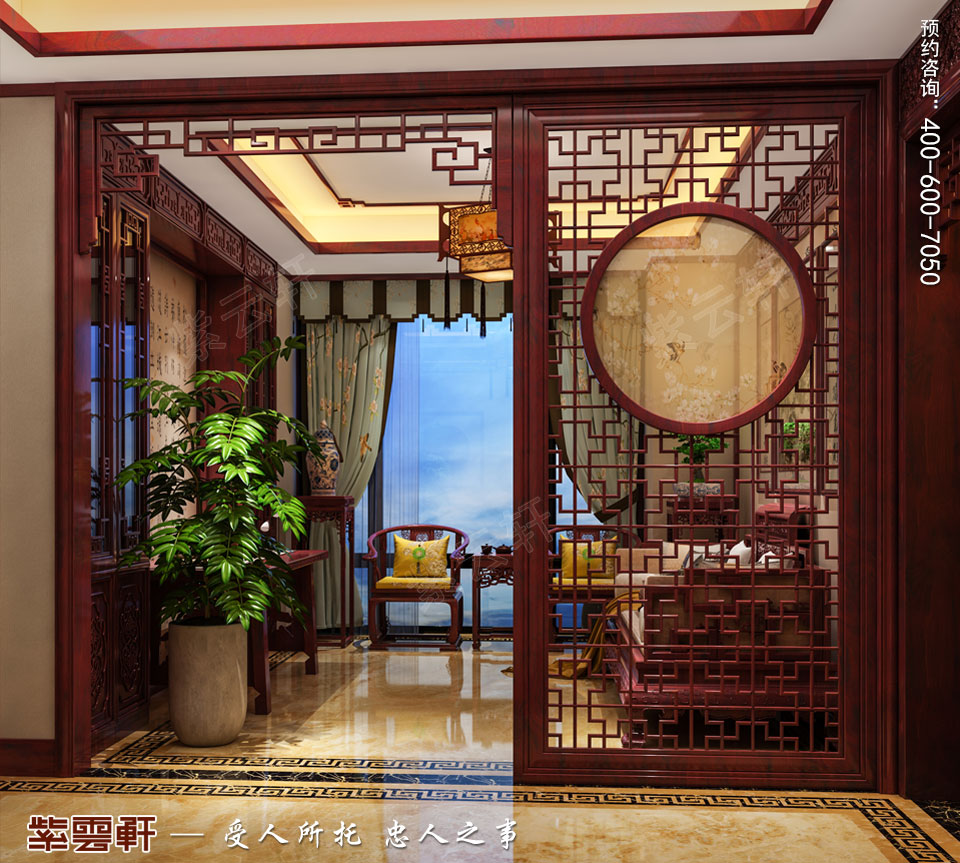 陕西汉中古典中式风格装修效果图,起居室中式装修效果图