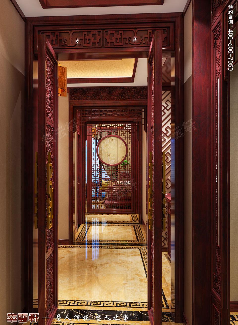 陕西汉中古典中式风格装修效果图,过道中式装修