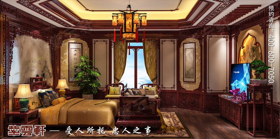 陕西汉中古典中式风格装修效果图,主卧室中式装修效果图