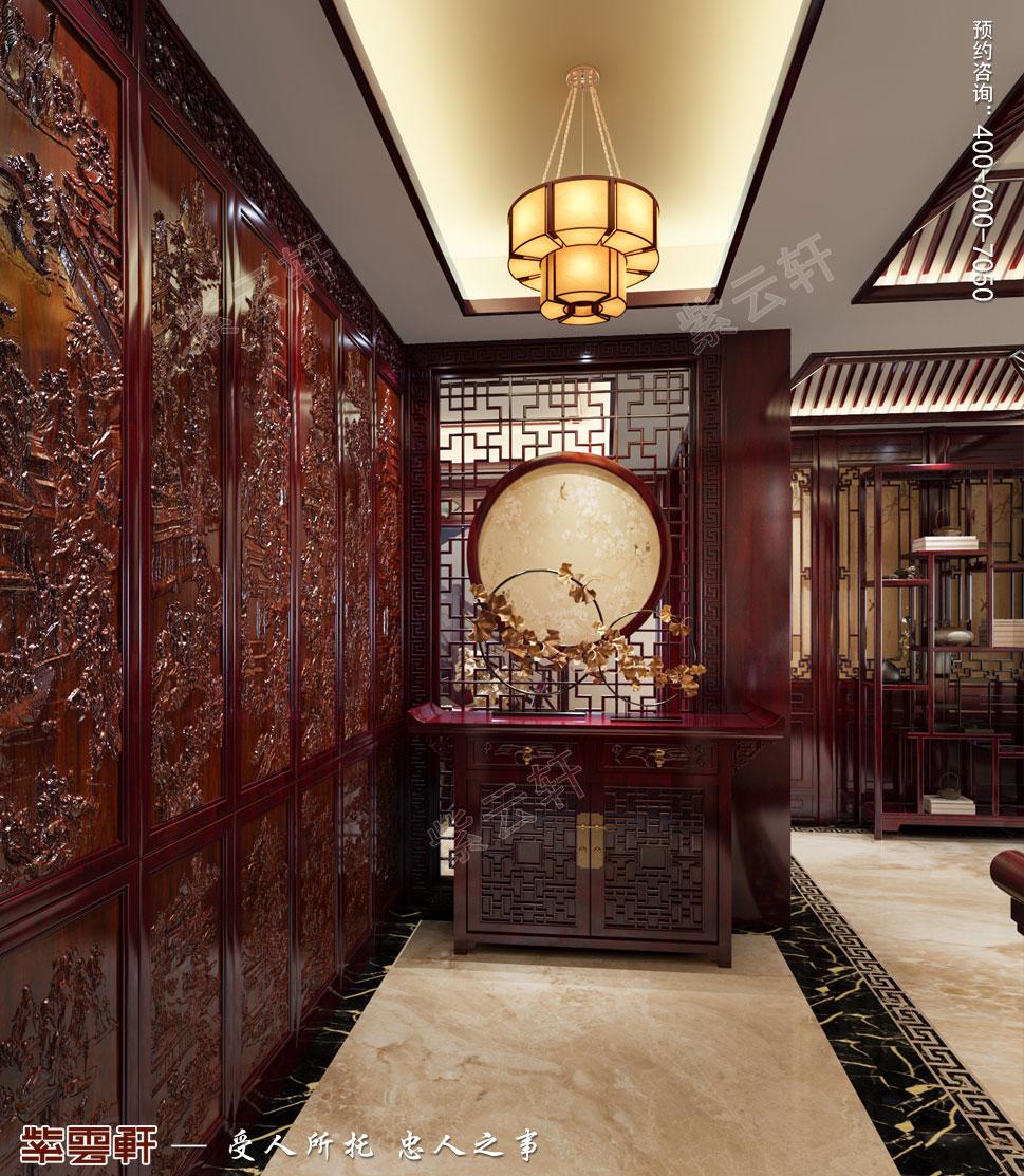 吉林珲春复式楼现代古典中式装修效果图,中式风格门厅设计