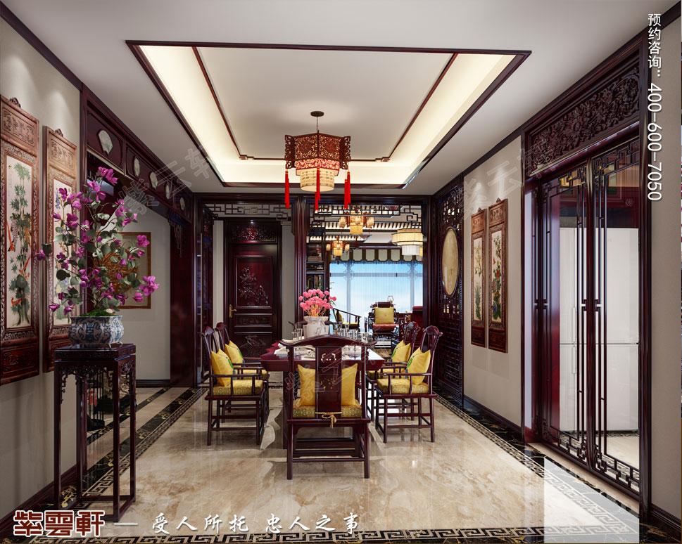 吉林珲春复式楼现代古典中式装修效果图,中式餐厅装修