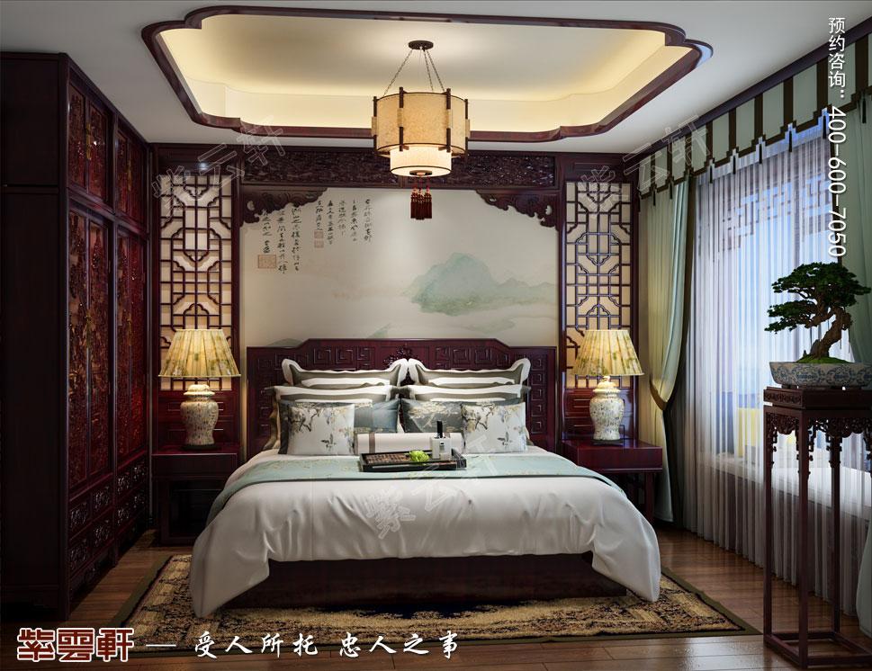 吉林珲春复式楼现代古典中式装修效果图,老人房中式设计图