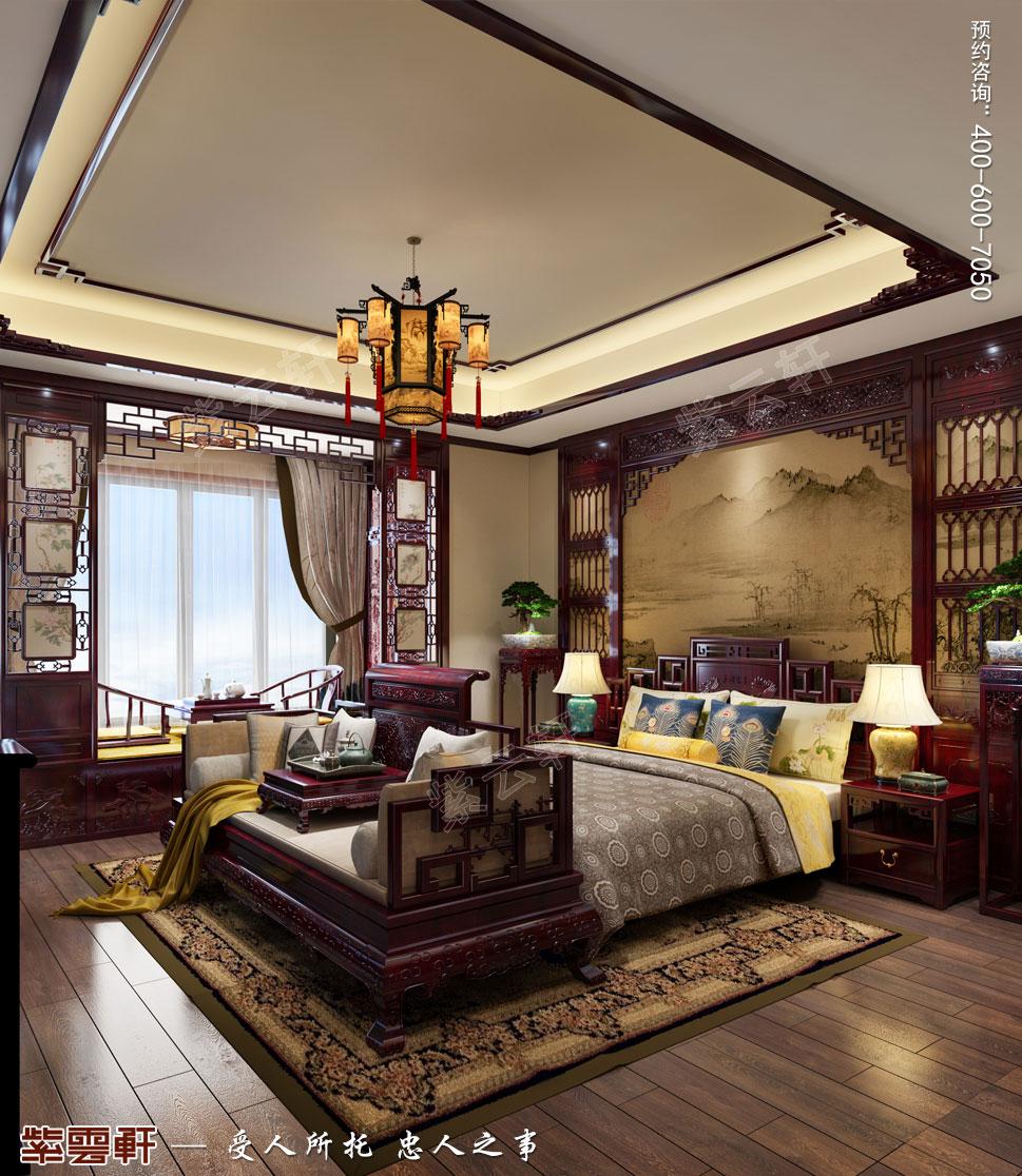 吉林珲春复式楼现代古典中式装修效果图,主卧中式装修图