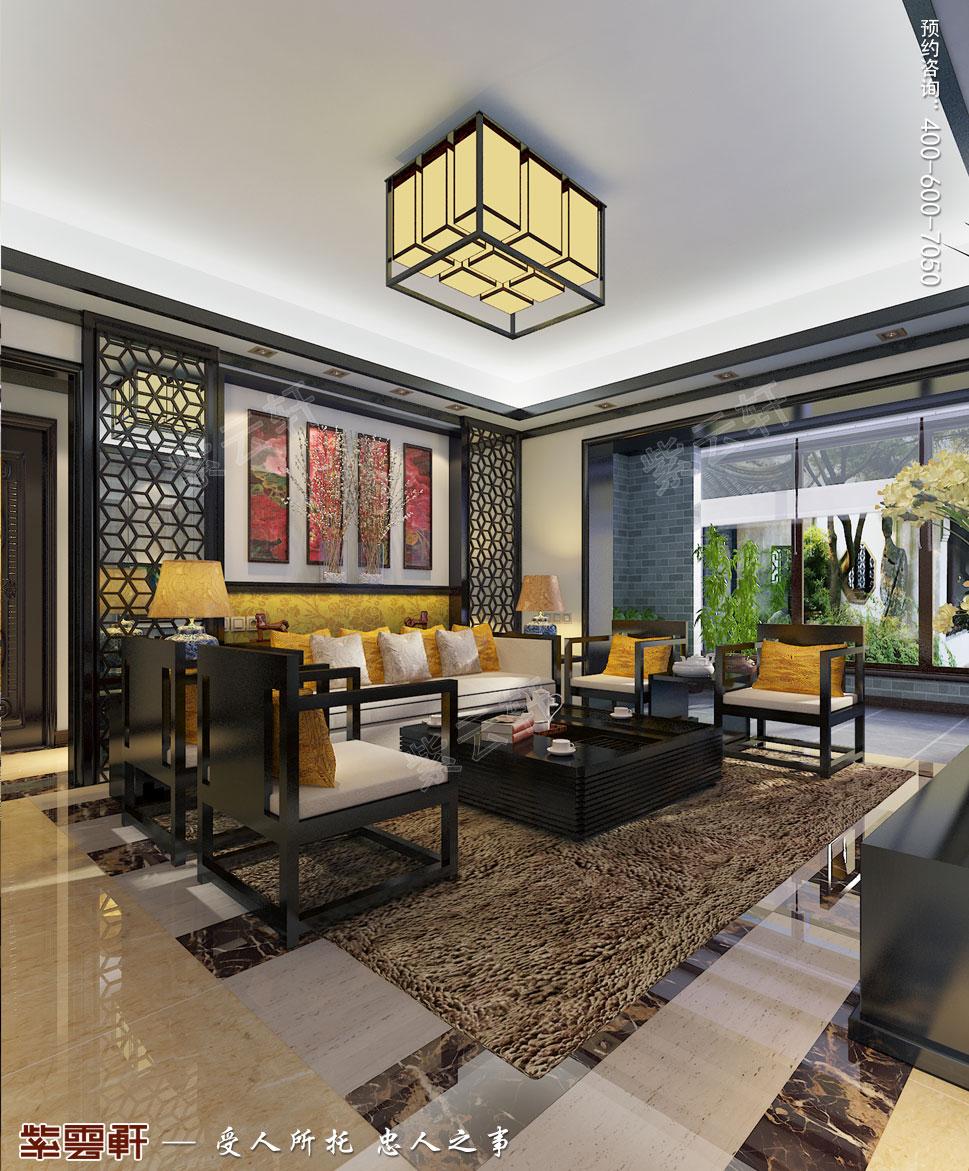 常州别墅新中式装修设计效果图,客厅中式设计