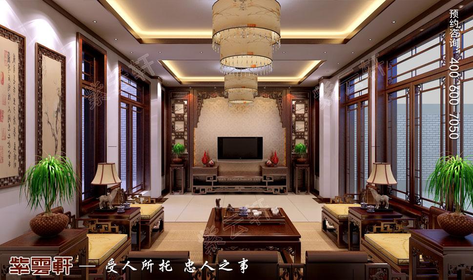 浙江绍兴金先生别墅现代中式装修效果图,客厅中式装修效果图