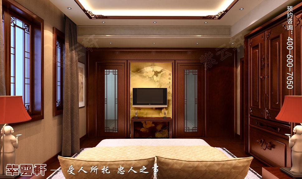浙江绍兴金先生别墅现代中式装修效果图,主卧中式装修效果图