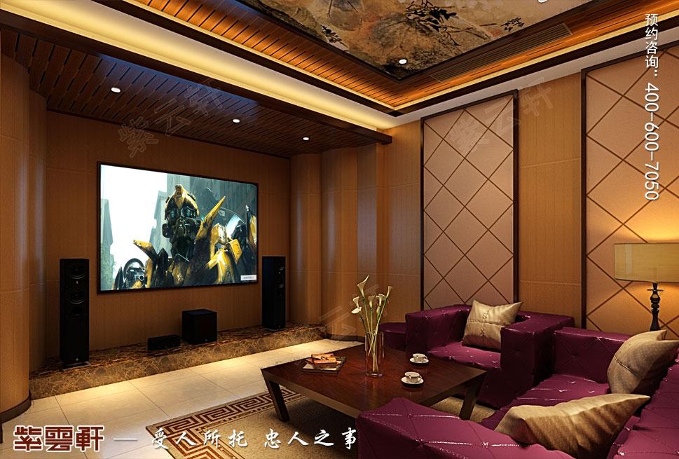 浙江绍兴金先生别墅现代中式装修效果图,影音室中式设计
