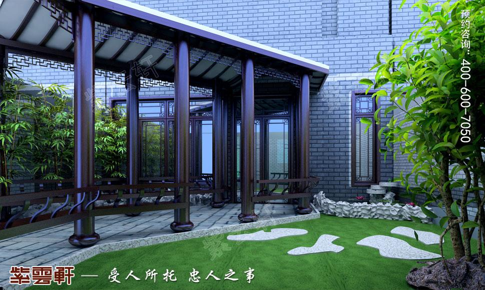浙江绍兴金先生别墅现代中式装修效果图,庭院中式设计装修