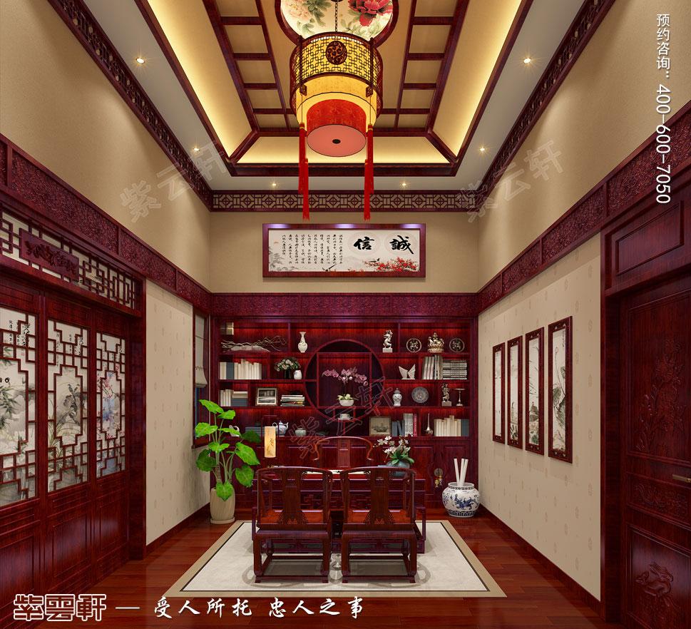 河北邢台古典中式装修效果图,主卧书房中式装修设计