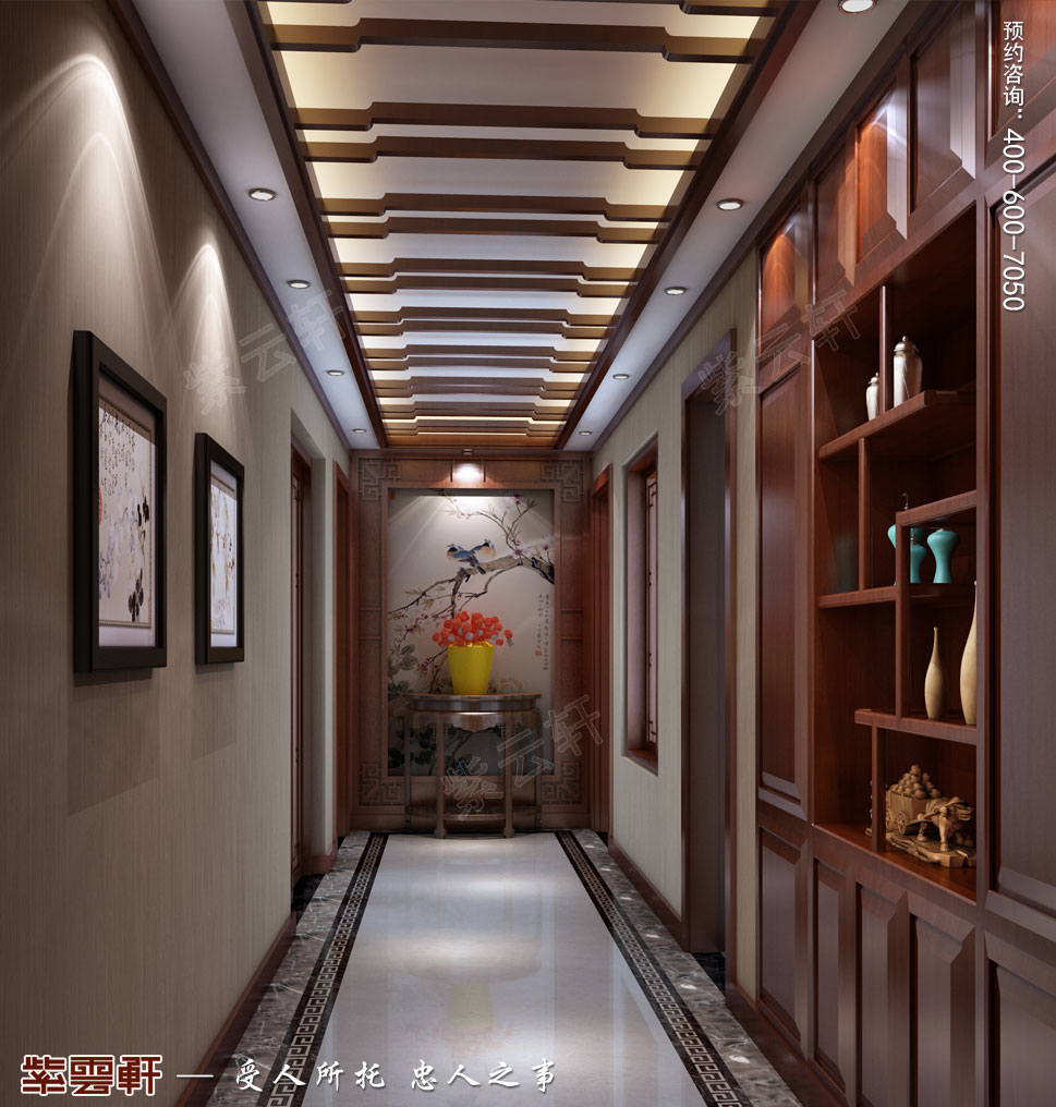江苏南通简约现代中式装修设计,过道中式设计