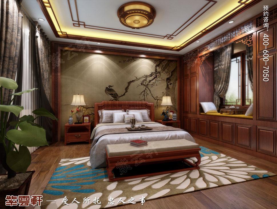 江苏南通简约现代中式装修设计,老人房中式装修设计