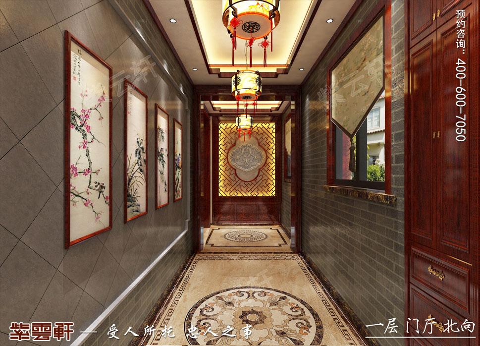 江西南昌别墅现代中式装修效果图,门厅中式装修效果图
