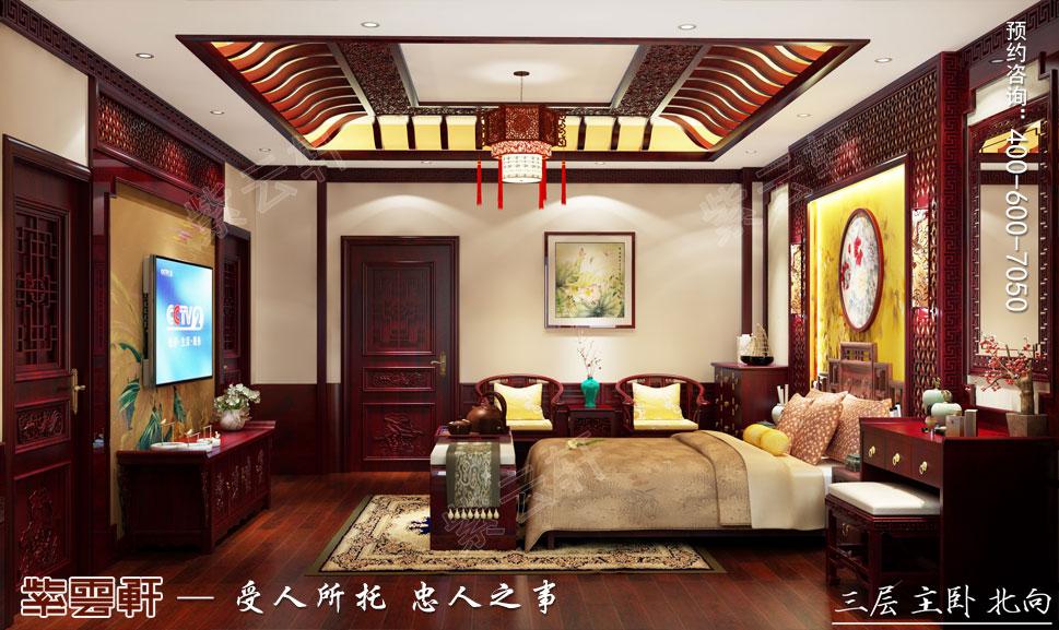 江西南昌别墅现代中式装修效果图,主卧中式装修效果图