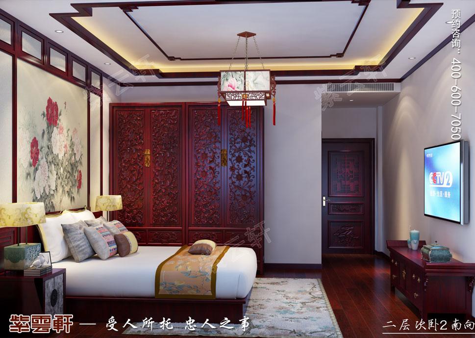 江西南昌别墅现代中式装修效果图,客卧中式设计装修