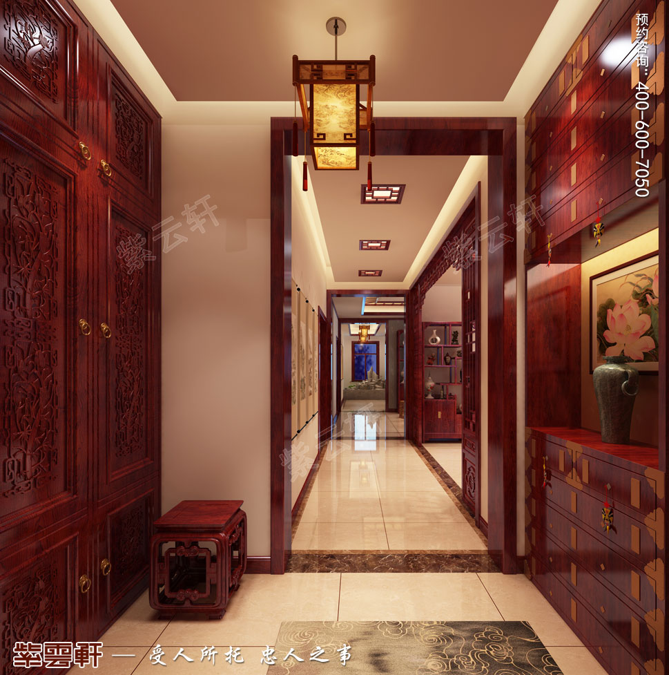 天津武清别墅现代中式风格装修效果图,玄关中式装修效果图