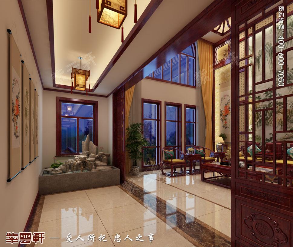 天津武清别墅现代中式风格装修效果图,走廊中式设计