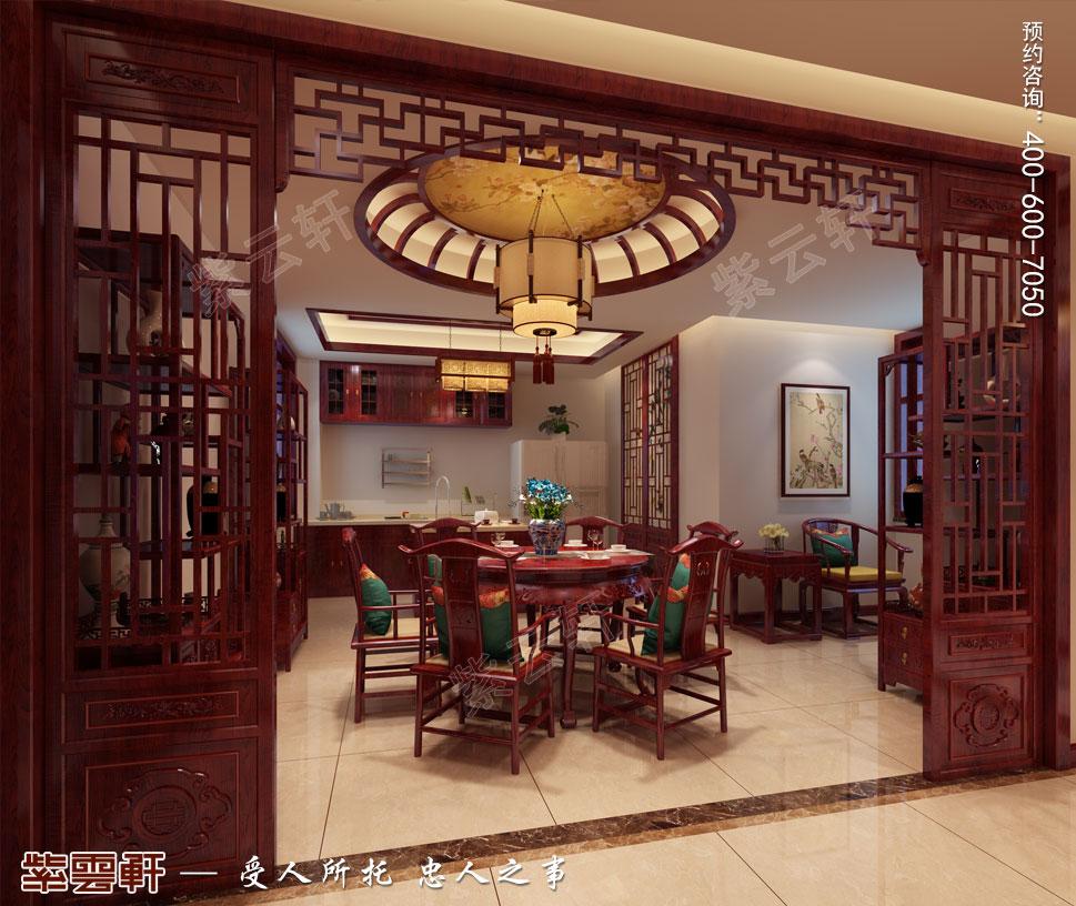 天津武清别墅现代中式风格装修效果图,餐厅中式装修设计