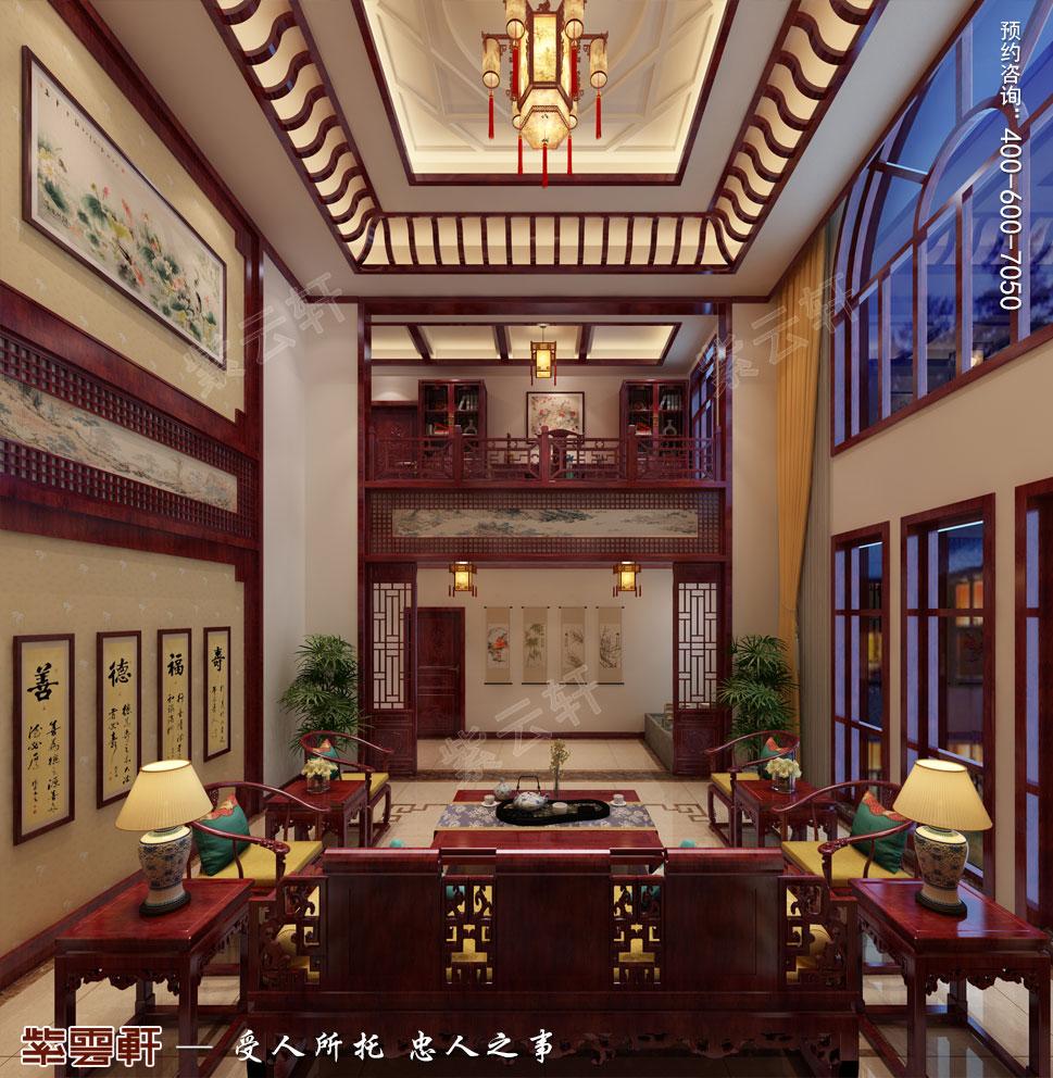 天津武清别墅现代中式风格装修效果图,客厅中式装修图