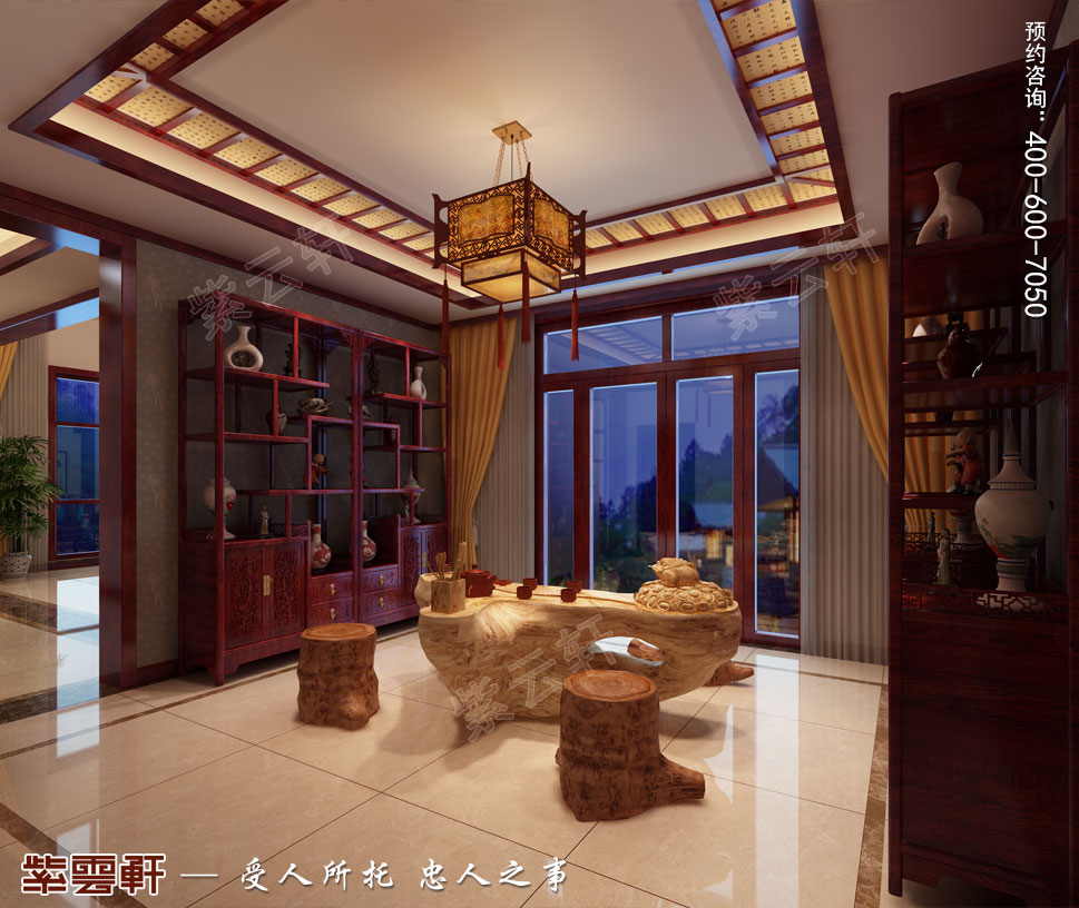 天津武清别墅现代中式风格装修效果图,茶区中式设计