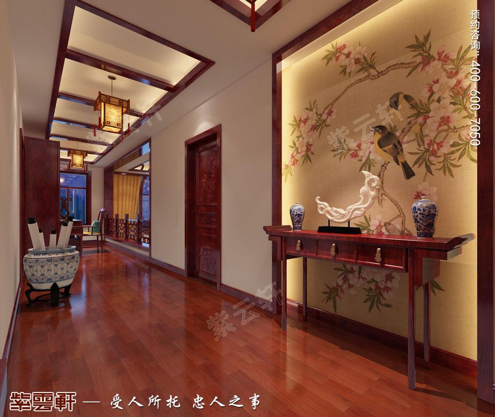 天津武清别墅现代中式风格装修效果图,二层走廊设计图