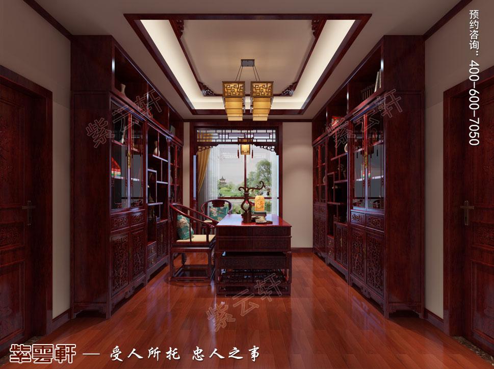 天津武清别墅现代中式风格装修效果图,中式书房装修设计