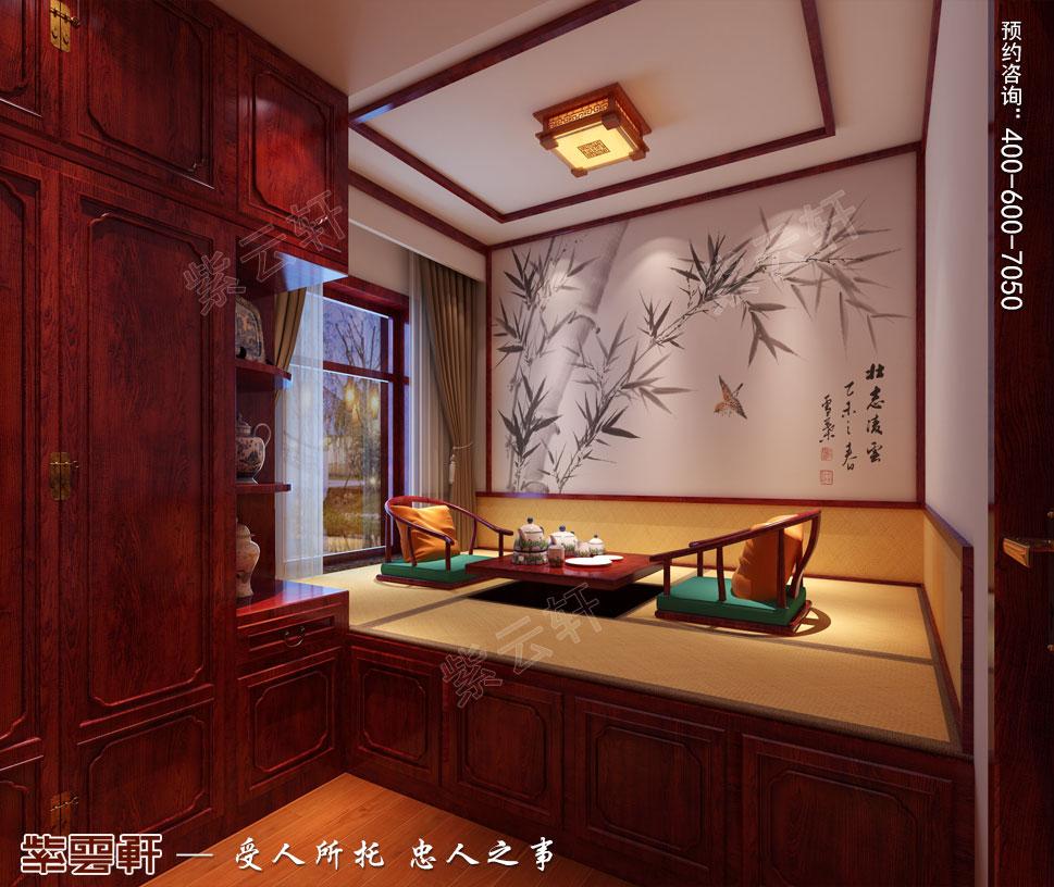天津武清别墅现代中式风格装修效果图,暖阁榻榻米中式设计