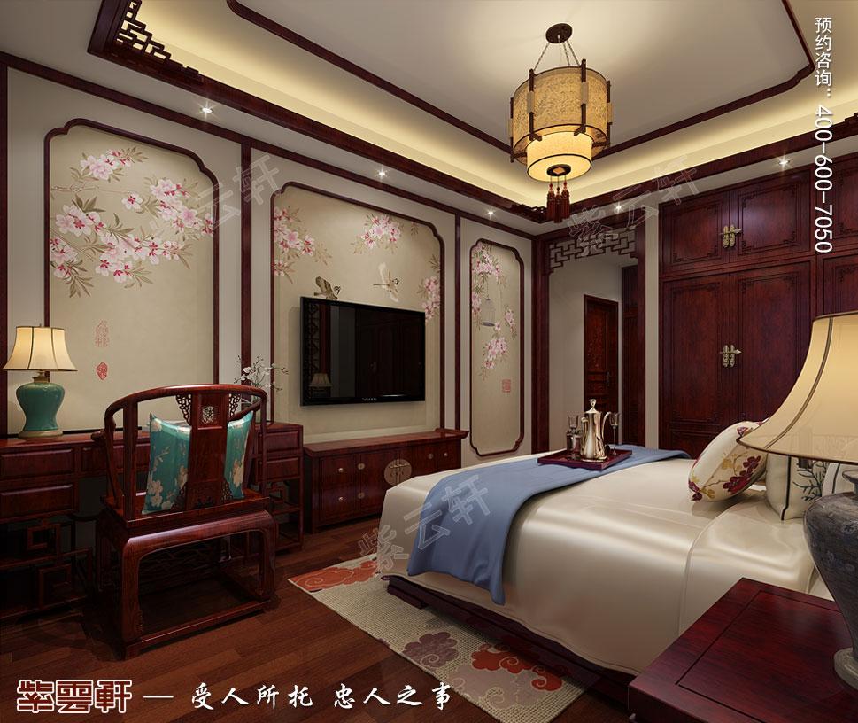 天津武清别墅现代中式风格装修效果图,女儿房中式设计