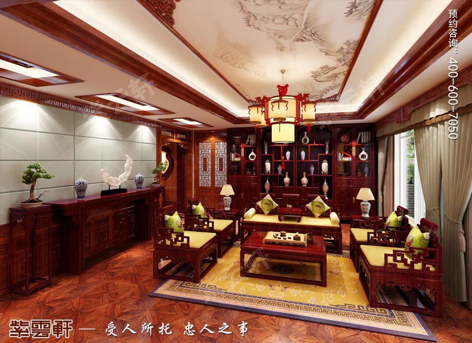 长治古典中式风格独栋别墅装修图,客厅中式装修