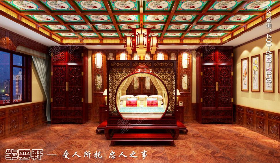 长治古典中式风格独栋别墅装修图,主卧中式设计