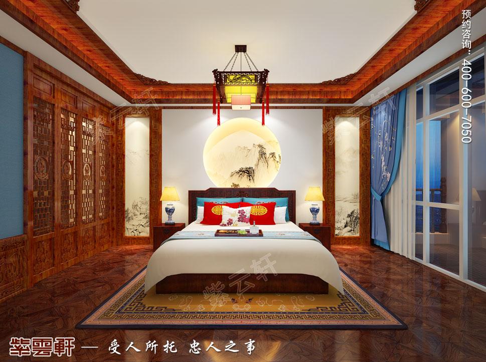 长治古典中式风格独栋别墅装修图,次卧中式装修效果图